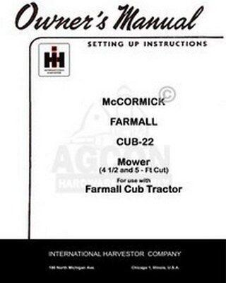 International Farmall Mccormick Cub-22 Sickle Mower 4 12 5 Ft Operators Manual