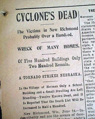 NEW RICHMOND WI St. Croix County Wisconsin TORNADO Disaster 1899 Old Newspaper