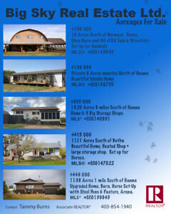 Acreages for Sale-Horse Properties starting at $195 000