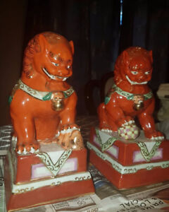 Vintage Chinese FOO FU DOGS Large Red Temple Lions Feng Shui