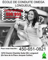 599.99$ COURS DE CONDUITE AU COMPLET- ECOLE DE CONDUITE OMEGA