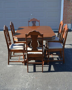 Vintage Dining Table, 6 Chairs, Sideboard