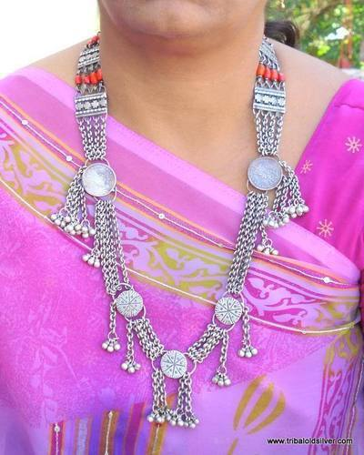 ANTIQUE ETHNIC TRIBAL OLD SILVER JEWELRY NECKLACE PENDANT BELLY DANCE INDIA