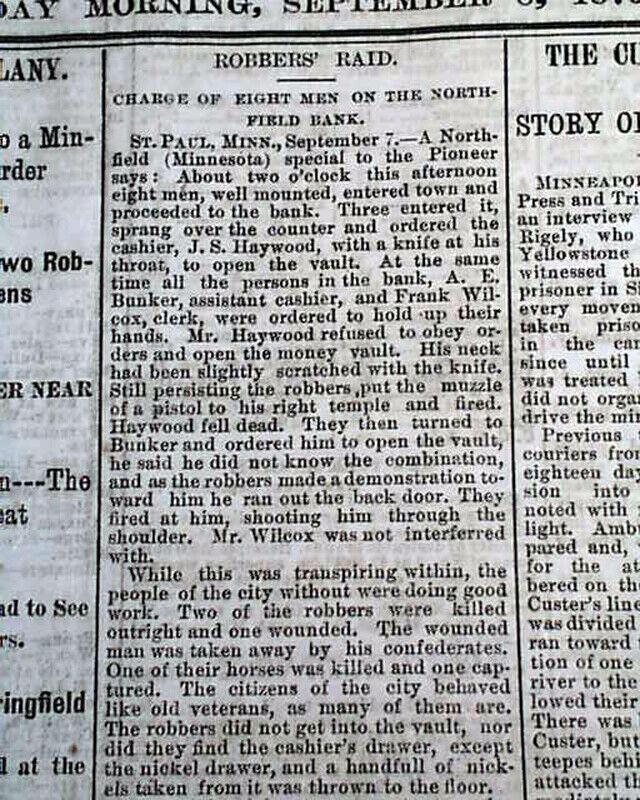 NORTHFIELD BANK ROBBERY Jesse James Gang & Custer