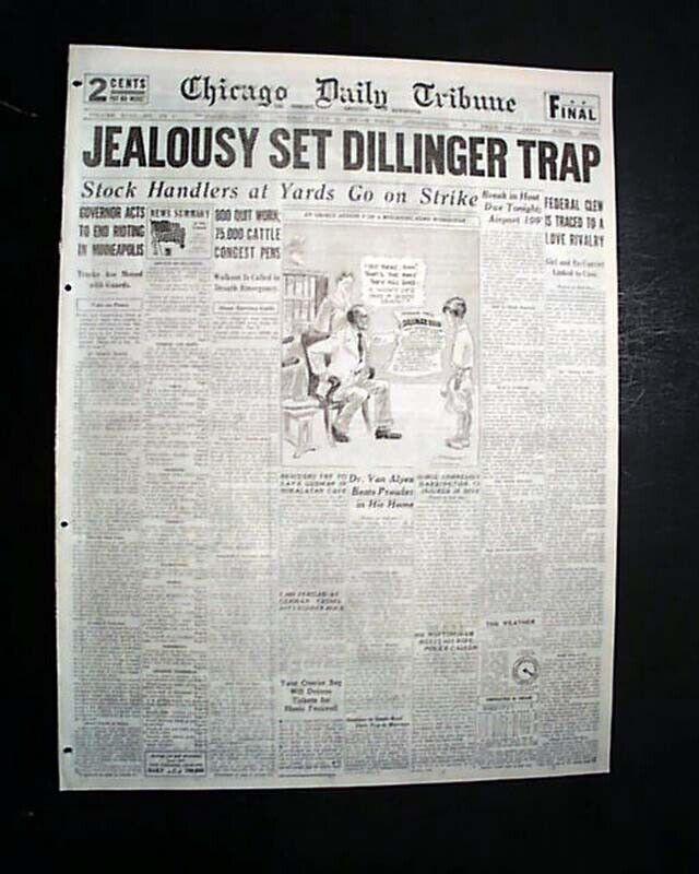 Best JOHN DILLINGER  Bank Robber Chicago Theater ASSASSINATION 1934 Newspaper