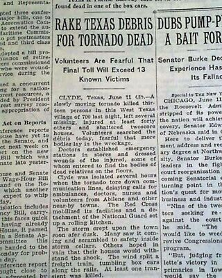 THE CLYDE TORNADO Callahan County TX Texas DISASTER June 12, 1938 Old Newspaper