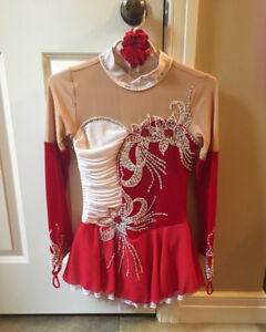 Custom made, like new Red and white skating dress