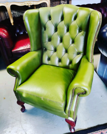 Green Chesterfield Wingback Chair