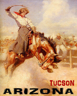 POSTER TUCSON ARIZONA RODEO BRONC RIDING HORSE COWGIRL VINTAGE REPRO FREE S/H
