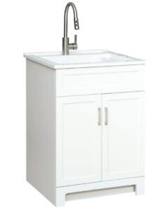 GLACIER BAY All in On7e 25-inch 2-Door Laundry Cabinet with Sink