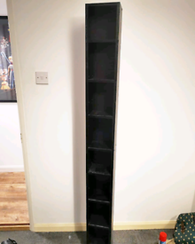 Black CD/DVD media storage tower bookcase shelf