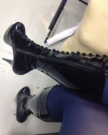 Knee high patent boots