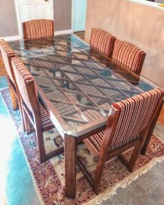 New Price -Solid Walnut  Dining Chairs and Glass Table Top