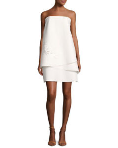 Tags still on white Halston Heritage strapless dress