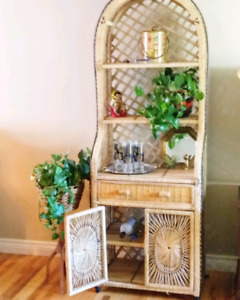 Vintage boho wicker shelving with cabinet and drawer