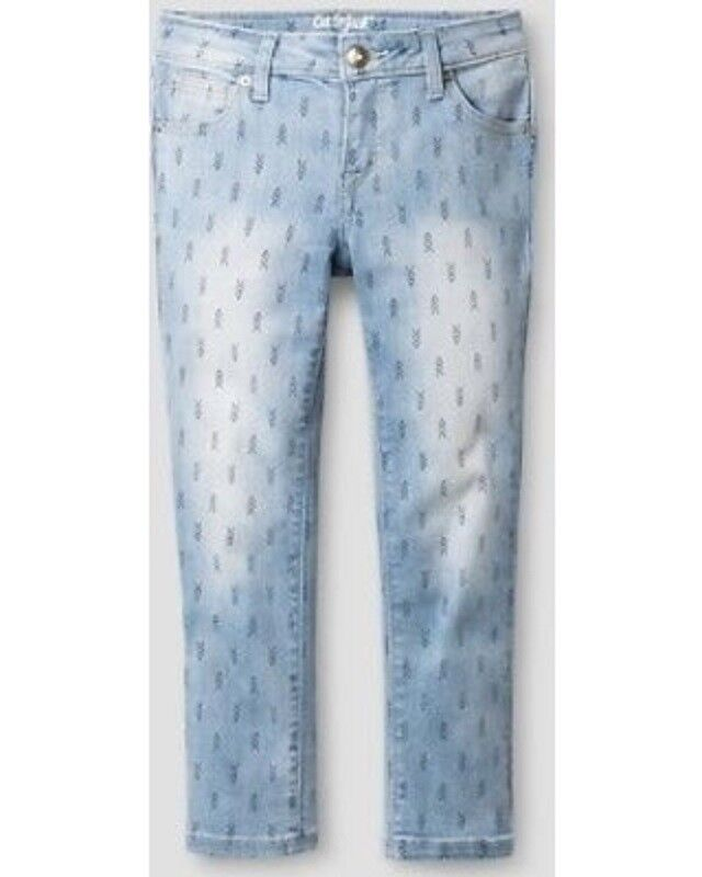 Cat & Jack Girls Light Denim Print Super Skinny Cropped Jean
