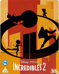 THE INCREDIBLES 2 3D/2D STEELBOOK-BRAND NEW SEALED!!!