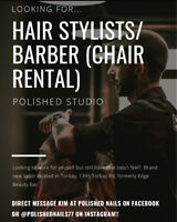 HAIR STYLIST/BARBER  CHAIR RENTAL Available in Brand New Salon!