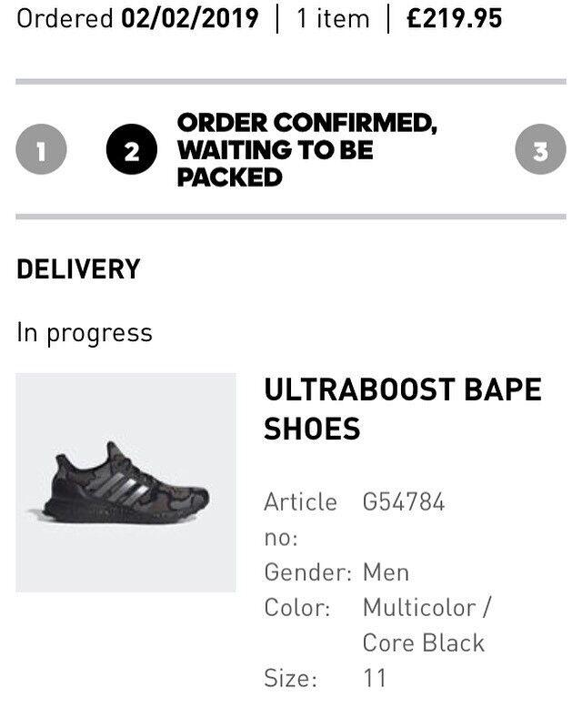 d94674d6ce465 Adidas x bape ultraboost 4.0 size 11UK