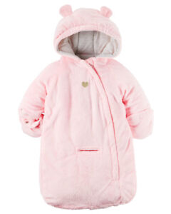 CARTER'S HOODED PINK BUNTING BAG 0-6m