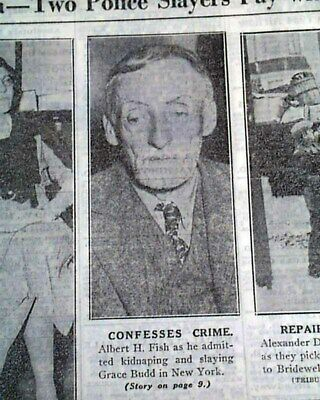 ALBERT FISH Serial Killer Child Rapist Cannibal CAPTURED Arrest 1934 Newspaper