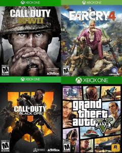 Selling/Trading Xbox One COD Black Ops 4 & WW2, GTA 5, Farcry 4