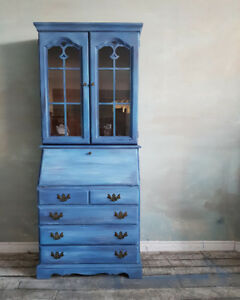 Cottage Blue Secretary Desk - Multi Function! SLIM and Narrow!