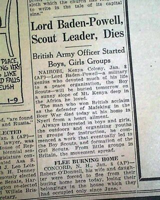 ROBERT BADEN-POWELL Boy Scouts Movement Founder DEATH 1941 WWII Era Newspaper