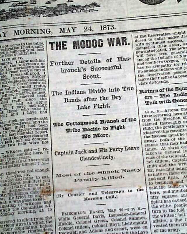 San Francisco CA California Old West MODOC INDIANS Lava Beds War 1873 Newspaper