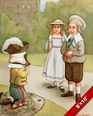 VISITING OLD MOTHER HUBBARD'S PET DOG ART PAINTING PRINT ON REAL CANVAS