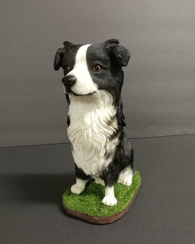 Border Collie Dog Figurine Statue Pet Puppy Hand Painted Resin Collectible New