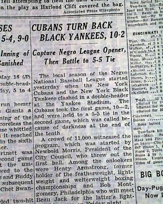 Rare NEGRO LEAGUE BASEBALL Black Yankees 1943 WWII New York Times Old Newspaper