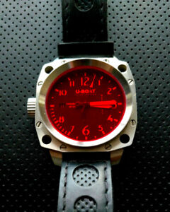 U-Boat Men's Stainless Steel Black Dial Red Index