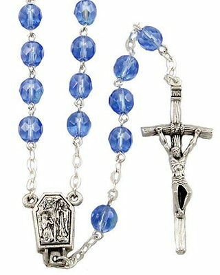 NEW MADE IN ITALY SAPPHIRE BLUE AURORA CRYSTAL LOURDES WATER MIRACLE ROSARY