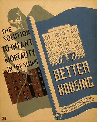 POSTER BETTER HOUSING SOLUTION INFANT MORTALITY IN SLUMS VINTAGE REPRO FREE