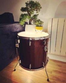 Drum side table with light upcycled