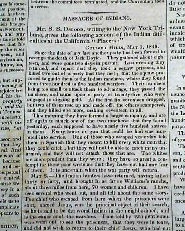CALIFORNIA GENOCIDE Native Americans Indians Massacres Removal 1849 Newspaper