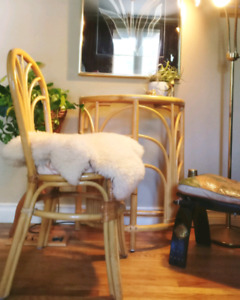 Vintage boho bamboo chair and vanity stand
