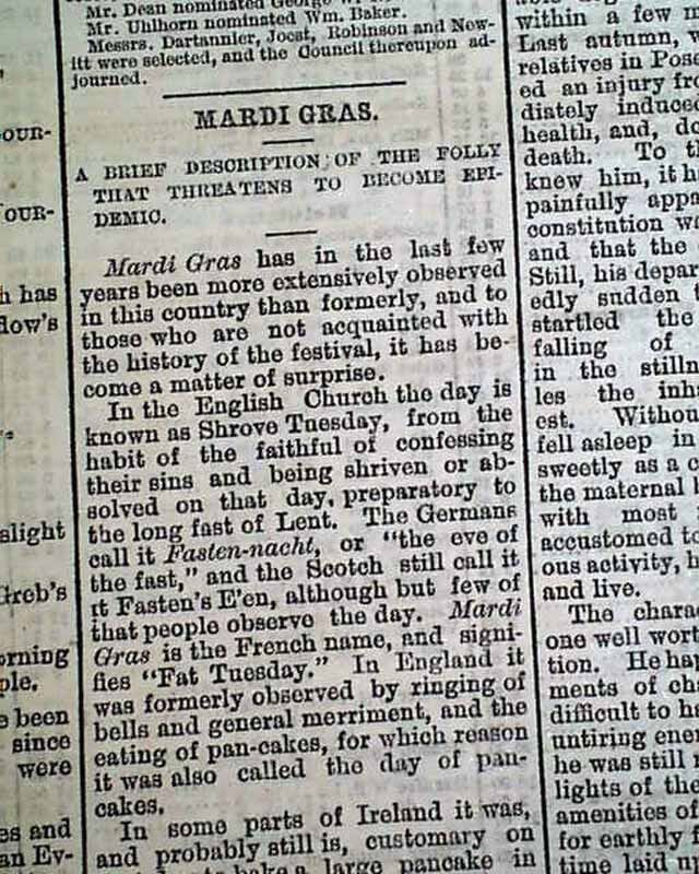 Early MARDI GRAS Mystic Krew of Comus Carnival Description  1873 Old Newspaper