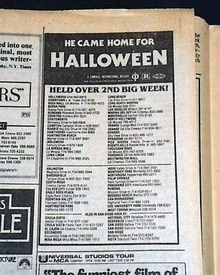 HALLOWEEN John Carpenter Slasher Film Michael Myers Movie AD 1978 L.A. Newspaper