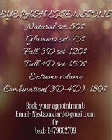 Eyelash extensions 3D-4D and Classic sets Available