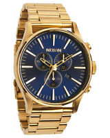 Nixon Sentry Chronograph Blue Sunray Dial Gold-tone Mens Watch