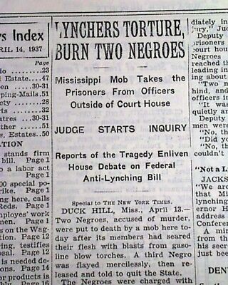 DUCK HILL MS Mississippi Negroes Lynchings Bootjack McDaniels 1937 Old Newspaper