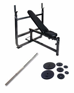 Northern Light Olympic Bench/Squat Rack, Weight Set and Bar