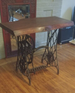 Live edge vintage singer sewing table