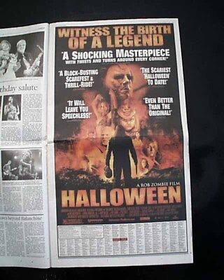 Best HALLOWEEN Rob Zombie Horror Film Movie Opening Day AD 2007 L.A. Newspaper - Horror Movie A Day Halloween