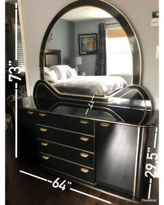 7 piece Black Lacquer/Gold Trim Bedroom Set