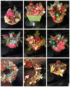 Christmas wreaths and centrepieces