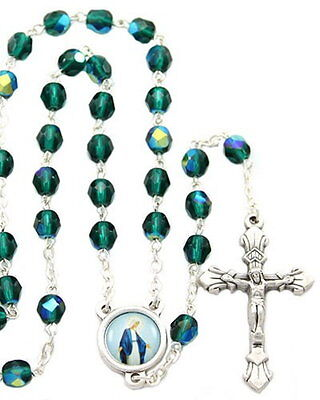 NEW MADE IN ITALY EMERALD GREEN AURORA CRYSTAL BEAD LADY OF GRACE ROSARY