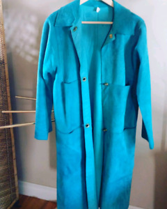 Vintage suede full length coat with oversized pockets